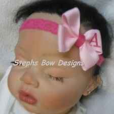 SOFT PINK & SHOCK PINK MONOGRAMMED PERSONALIZED DAINTY HAIR BOW MONOGRAM  A-Z