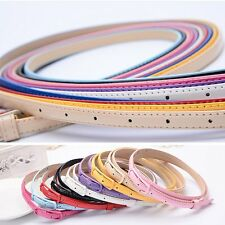 New Women Colorful Patent Leather Narrow Thin Skinny Waist Belt Waistband Buckle