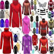 Womens Ladies Cowl Polo Neck Chunky Cable Knit Baggy Jumper Sweater Pullover Top