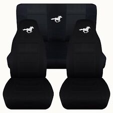 Front and Rear Solid Black Horse Seat Covers Fits 1994-2004 Ford Mustang