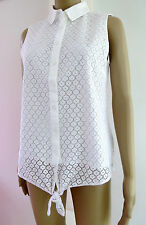 "ladies Tommy Hilfiger White  lace front   ""MUST HAVE""   Tie/Blouse,"