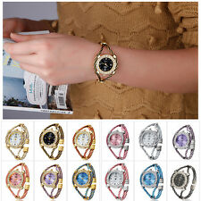 Fashion Design Steel Wire Crystal Quartz  Bracelet Wrist Watch For Women Girls