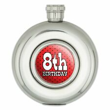 Round Stainless Steel 5oz Hip Flask Birthday Party Red Black Polka Dots