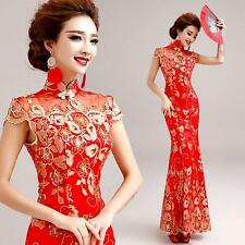 Chinese Red Lace Embroider Cheongsam Prom Slim Fit Party Wedding Ball Gown Dress
