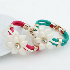 Women Flower Crystal Rhinestone Faux Leather Bangle Bracelet Cuff Jewelry New