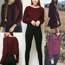 Autumn Women Long Sleeve Boat Neck Knitted Sweater Cardigan Short Tops Pullover