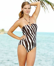 NWT Michael Kors Size 6 or 8 1PC LOGO Ring Halter Maillot Swimsuit Brown Zebra