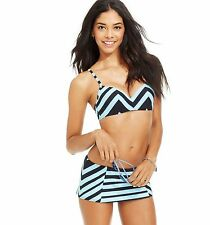 NWT Coco Rave Size 34/36C Cup Bra + Size M Skirted Bikini Brief Swimsuit Striped