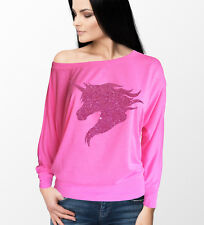 Ladies flow of the shoulder Long Sleeve neon pink top with pink glitter unicorn.