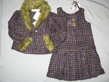 NWT Greggy Girl ROYAL ICING 4 4T 6 6X Tweed Dress Pageant Interview Fur Green