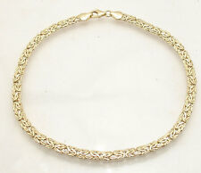 4.5mm Byzantine Link Ankle Bracelet Anklet Real 14K Yellow Gold ALL SIZES