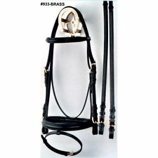 Bobby's Padded Dressage Bridle w/Flash - Black/Brass - Cob, Horse, Warmblood