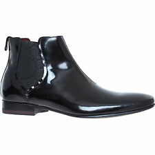 NEW TED BAKER Black Patent Leather Lorrde high shine Paisley Chelsea boots shoes