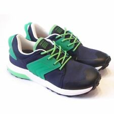 Geox Asteroid Boy Navy & Green Lace Up Trainer | Breathable Leather Insole