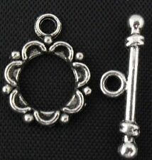 Free Ship 12 Sets Tibetan Silver Bali Style Round Toggle Clasps 18x14.5mm