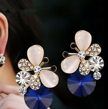 1 pair Jewelry Elegant Hot Rhinestone Asymmetric Stud Earrings Women Butterfly