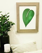 Original Artwork Print Acrylic Green Leaf Contemporary Unframed
