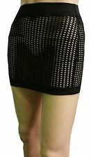 NEW HOT LADIES WOMEN SEE THROUGH FISHNET  FITTED MICRO MINI SKIRT SIZE 6 TO 18
