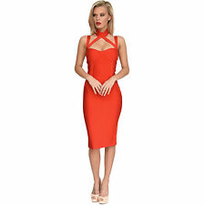 Red Bandage Dress Midi Bodycon Cocktail Dress Sweetheart Neck Collar Straps