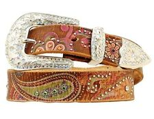 Nocona Western Belt Womens Leather Studded Paisley Brown Pink N3488097