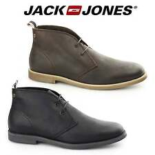 Jack & Jones ALPHA Mens Waxy Leather Lace Up Casual Comfy Ankle Chukka Boots