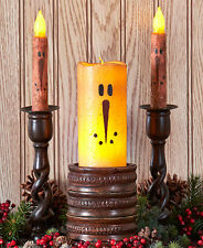 Snowman LED Candle Primitive Rustic Taper Pillar Nostalgic Christmas Winter NEW