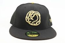 Boise Hawks Black All Over / Gold Logo  MiLB New Era 59Fifty Fitted Hat Cap