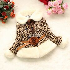 Baby B5UT Leopard Double-breasted Faux Fur Collar Coat Winter Outerwear Jacket