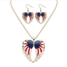 Drip  Earrings Bohemia 2016 Jewelry Sets Necklace Stars and Stripes Wings Resin