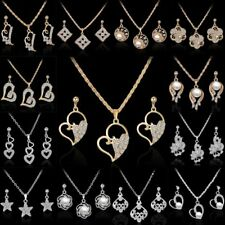 Women Crystal Pearl Heart Rose Flower Necklace Earrings Wedding Jewelry Set Gift