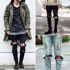 New Design Mens Boys Stretch Denim Jeans Slimfit Zip Fly Destroyed Ripped Pants