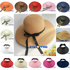 New Floppy Foldable Womens Ladies Beach Hand Made Sun Summer Hat Beige Wide Brim