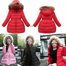 Kids Girls Puffer Down Jacket Fur Hooded Winter Long Parka Coat Outerwear