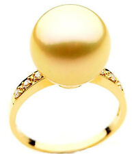 $7,499 Pacific Pearls® AAA 14mm Australian Golden  South Sea Pearl Diamond Ring