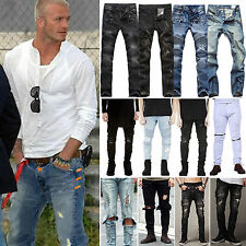 Men's Distressed Ripped Skinny Hip-Hop Jeans Casual Pants Slim Fit Denim Trouser