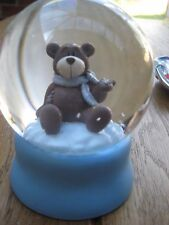Nici Snow Globe, blue with a bear and scarf, hand out to catch snow. Large