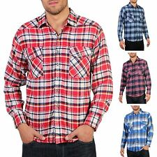 Mens Flannel Brushed Cotton Lumberjack Check Long Sleeve Shirt Work Button Top