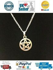 Pentagram Magical Symbol Pendant Necklace on Silver Plated Chain Tibetan Silver