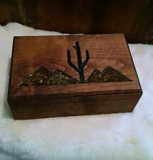 Beautiful Handmade Vintage Wooden Trinket/Jewelry Box w/ Inlay and Fur Lining