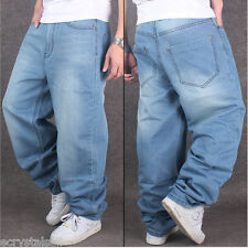 Mens Stylish Jeans Hip Hop Loose Fit Denim Baggy Straight Casual Long Pants