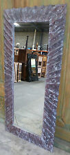 Balinese Hand Carved Wood Modern Style Tall Long Mirror 150cm x 70cm Brown Wash