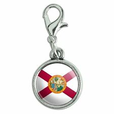 Antiqued Bracelet Pendant Zipper Pull Charm with Lobster Clasp State Flag
