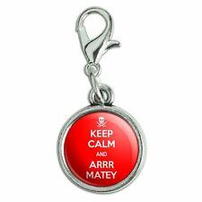 Antiqued Bracelet Pendant Zipper Pull Charm with Lobster Clasp Keep Calm and A-H