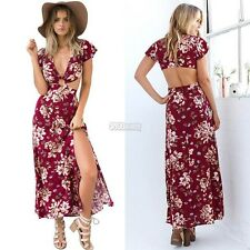 Sexy Deep V Neck Cutout Backless Floral Slit Casual Summer Maxi Long Gown Dress