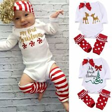 Newborn Infant Baby Boys Girls Xmas Romper Jumpsuit Leg Warmers Outfits Clothes