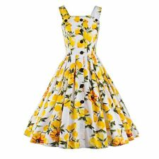 Women Vintage Style Lemon Printed Swing Pinup Retro Cocktail Party Prom Dress
