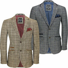 Mens Vintage Tweed Herringbone Check Blazer Velvet Elbow Patch Brown Grey Jacket