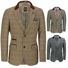Mens Vintage Tweed Herringbone Check Blazer Brown Grey Velvet Collar Elbow Patch