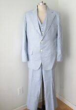 VGC Vtg 70s Blue White Pinstripe 3-Pc Palm Beach Boating Suit Vest Flat Pant 46L