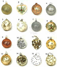 Selection Gisela Graham Cream Gold Silver Bauble Christmas Tree Decorations